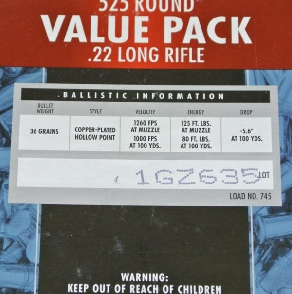 22LR Federal Champion 36gr/2,33g Copper-Plated HP, 525 ks